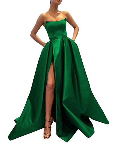 Ever-Beauty Womens Long Strapless Satin Prom Dress Sleeveless Slit Evening Ball Gown with Pockets Emerald Green Size - Evening Emerald Green Gowns