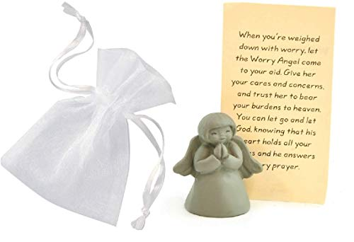 N2M Sweet Pewter Worry Angel with Prayer Card & Pretty White Drawstring Organza Pouch]()