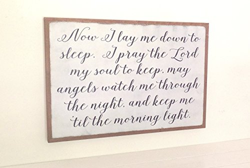 Now I Lay Me Down to Sleep Nursery Sign Wood Distressed Wooden Childrens Room Sign Framed Art 3'x2' by Leap of Faith Sign Shop