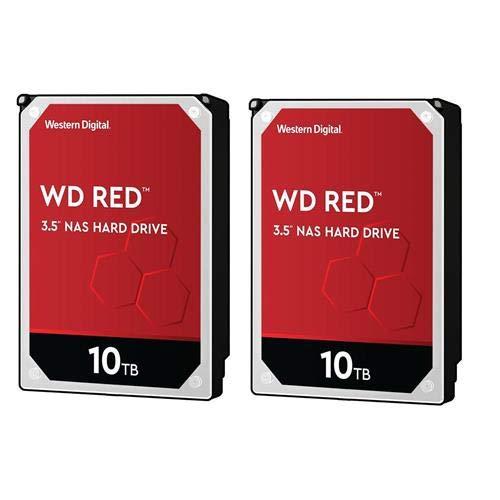 """Western Digital WD 2 Pack, Red 3.5"""" 10TB NAS Internal Hard Drive, 5400 RPM, SATA III 6Gb/s"""