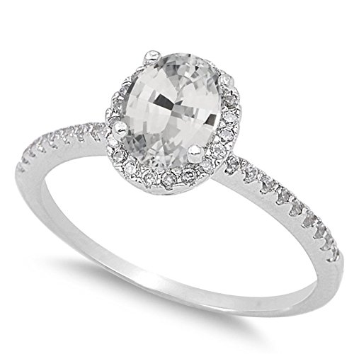 - 925 Sterling Silver Faceted Natural Genuine White Topaz Oval Halo Ring Size 8