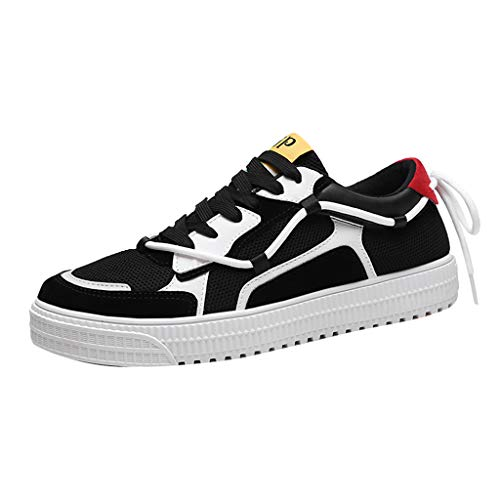 iHPH7 Shoes Classic Skate Color Matching Lace-Up Casual Canvas Shoes Mesh Breathable Fashion Sneakers Men (42,Black)