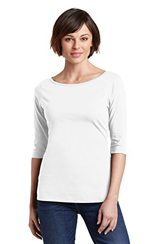 District Made Women's Perfect Weight 3/4-Sleeve Tee DM107L Bright White Large