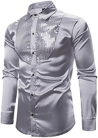 メンズ 長袖シャツ スパンコール キラキラ おしゃれ ゆったり 結婚式 ビジネス カジュアル 衣装