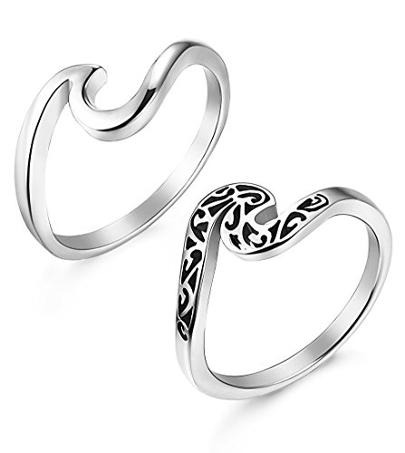 LOLIAS 2 Pcs Stainless Steel Rings for Women Girls Cute Wave Ring,Size 9