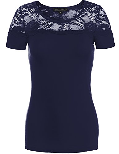 Fashionable Fitted Floral Lace Cotton Knit Shirts (YFOB), US M, 086-Navy