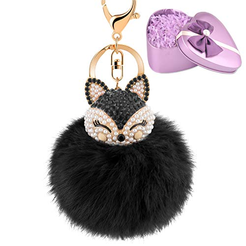 - JOUDOO Fluffy Fur Ball Keychain With Gift Box Fox Head Pom Pom Keyring with rhinestone for bag or Car Pendadnt Charm Accessories GJ020 (black 2)