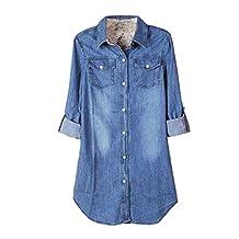 Lowpricenice(TM) Women's Casual Long Sleeve Vintage Blue Denim Shirt Tops Blouse