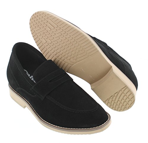 Calto T66080-2.8 Pouces Taller - Hauteur Augmentant Chaussures Dascenseur - Nubuck Noir Chaussures Casaul Slip-on