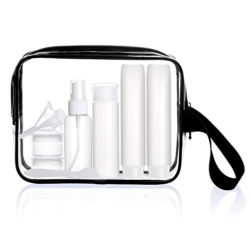 - Sariok TSA Approved Toiletry Bag with 6 Bottles Clear TSA Travel Set Airport Airline Security Luggage Organizer Pouch(black)