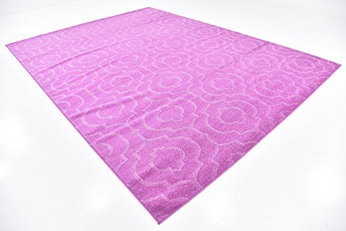 Modern Geometric 9 feet by 12 feet (9' x 12') Trellis Frieze Pink Contemporary Area Rug