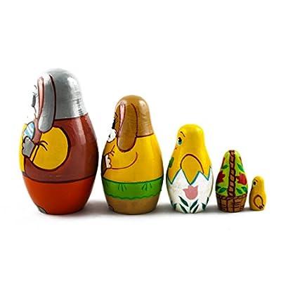 Matryoshka Matrioska Babuska Russian Nesting Wooden Doll Easter Bunny Eggs Babushka 5 Pcs Stacking Hand Painting Beautiful Nested Matriosjka Matreoska Matreshka Matrjoska Matroeska: Toys & Games