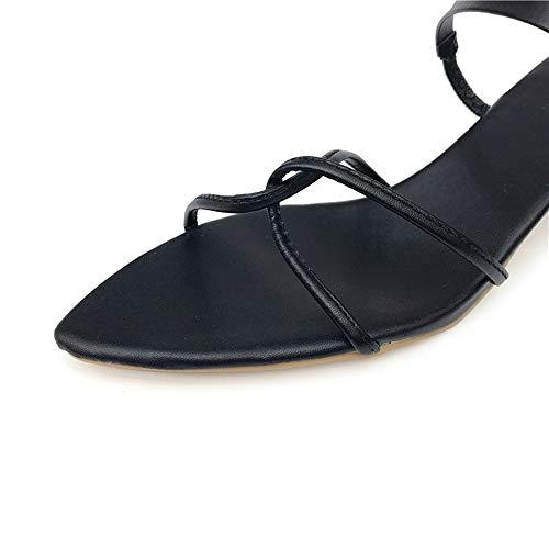 Pointues Word Sandales Toe 3 EU Sauvage Cool Pantoufles Open 38 Noir Yiwuhu avec 2 Sexy avec Deux Noir Taille Sangle rétro Couleur xXwwSYPvq