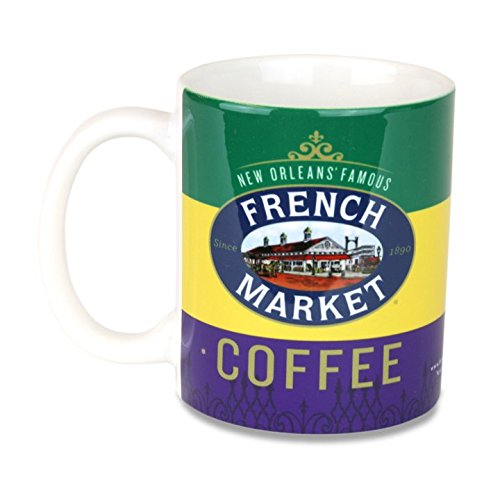 - French Market Coffee Mug - Mardi Gras - Purple, Green, and Gold