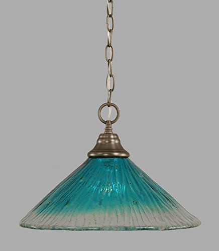 Toltec Lighting 10-BN-715 One-Light Chain Pendant Brushed Nickel Chain Pendant with Teal Crystal Glass, 16-Inch ()