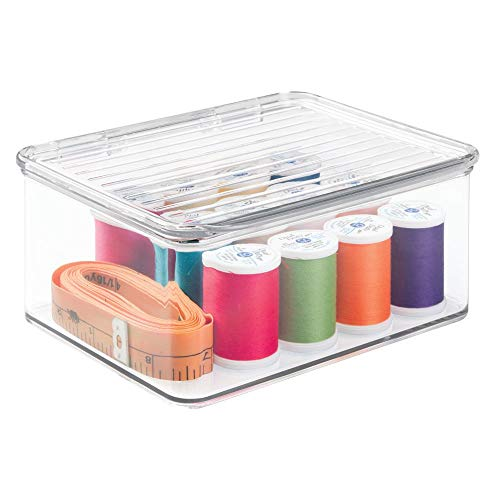 mDesign Stackable Plastic Craft, Sewing, Crochet Storage Container Bin with Attached Lid - Compact Organizer and Holder for Thread, Beads, Ribbon, Glitter, Clay - Small, 3