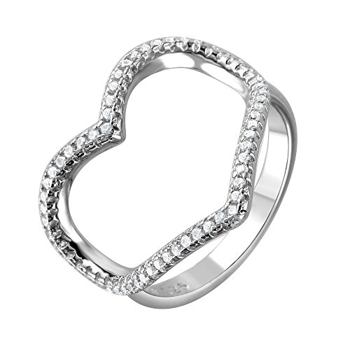 20mm Open Heart Ring - Clear Cubic Zirconia Wide Open Heart Ring Rhodium Plated Sterling Silver Size 7
