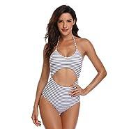 Women's Bodycon Swimsuit Floral Striped Print Tummy Control Hollow Tank Onepiece Beachwear