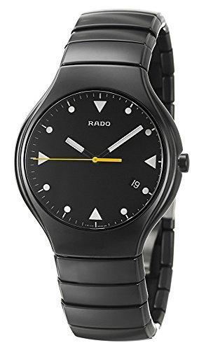 Rado True Negro Cerámica Mens Reloj Cuarzo Negro Dial calendario r27816162 por Rado