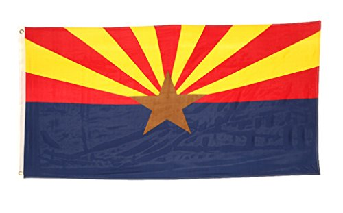 Arizona Flag (Shop72 US Arizona State Flags: Arizona Flag - 3x5' Flag From Sturdy 100D Polyester - Canvas Header Brass Grommets Double Stitched From Wind Side)