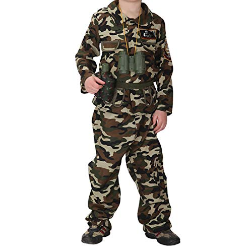 - Kids Camoflage Army Costume Special Force Soldier Uniform Woodland Camo Tactical Suit Jungle Hunting Outfit Halloween Fancy Dress (1171-Soldier, L)