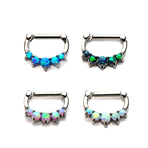 Cabochon 4 Prong - BodyJewelryOnline Septum Clickers with 5 Prong Set Synthetic Opal Cabochons - 316L Surgical Steel - 4 Colors to Choose From (14 Gauge, Black)