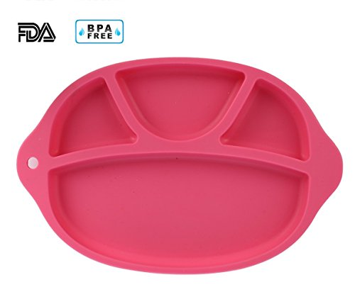 - Jonhen Baby Highchair Placemat & Silicone Divided Plate 4 Sections - Lovely Kids Feeding Bowel BPA FREE (rose red)