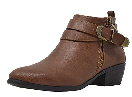 TOETOS Women's Pitts-01 Brown PU Block Heel Side Zipper Ankle Booties Size 7 M US (Ankle Boots Side Zipper)
