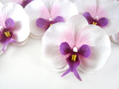 (50) White Purple Phalaenopsis Orchid Silk Flower Heads -...