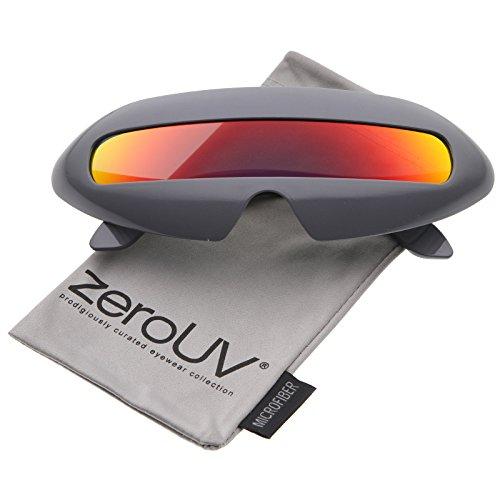 zeroUV - Futuristic Costume Single Shield Colored Mirror Lens Novelty Wrap Sunglasses 70mm (Grey / Red Mirror) - 70's Costume Sunglasses
