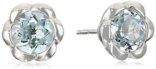 10k White Gold Aquamarine Stud - Bezel Stud Aquamarine Earrings