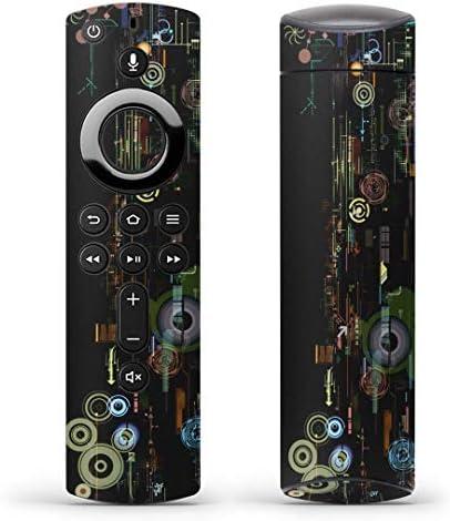 igsticker Fire TV Stick 第2世代 専用 リモコン用 全面 スキンシール フル 背面 側面 正面 ステッカー ケース 保護シール 007228 クール 黒 ブラック 模様