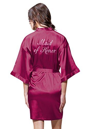 Turquaz Linen Satin Kimono Rhinestone Maid of Honor Robe (Small/Medium, Wine Red)