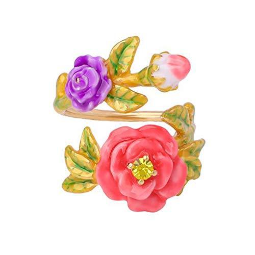 (Daeou Open Ring Lady Ring Enamel Glaze Flower Insert Drill Opening Adjustable)