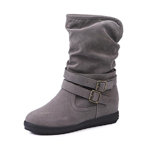 Creazy Ladies Womens Low Wedge Buckle Biker Ankle Trim Flat Ankle Boots Shoes (Gray, 40) ()