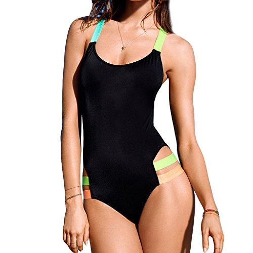 Zmart Women's Neon Color Straps Open-Back One-Piece Active Swimsuit Bathing Suit,Black/Neon straps,Label size L=US M (8,10)