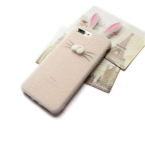we3Dcell Cute Rabbit Bunny Ears 3D Nose Soft Silicone Case Cover for iPhone 6 Plus / 6s Plus / 7 Plus / 8 Plus ()