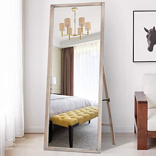 PexFix Full Length Mirror 65″X22″ Solid Wood Rectangle Decor Floor Mirror Standing/Hanging Mirror Wall Mounted Mirror