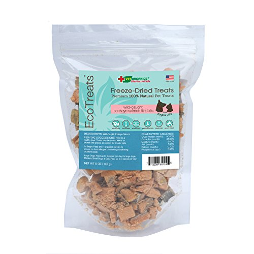 EcoTreats Wild-Caught Sockeye Salmon Filet Bits Freeze-Dried Cat & Dog Treats. Made in The USA! Great for Use as a Training Aid or Reward. 100% Natural Single Ingredient Premium Pet Treats, 5-oz Bag