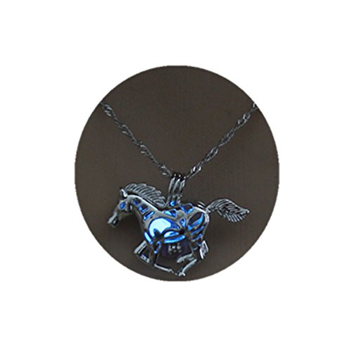 Glowing In The Dark Running Horse Pendant Hollow Out Luminous Locket Cage Necklace Jewelry (Blue)