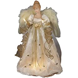 Kurt Adler 16-Inch UL 10 Light Ivory and Gold Angel Treetop