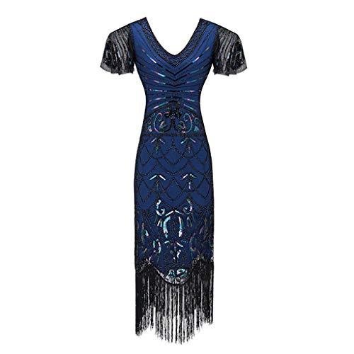 Clearance Renaissance Dress,Forthery Women 1920s Gastby Sequin Art Nouveau Embellished Fringed Flapper Dress(Blue,XXL)]()