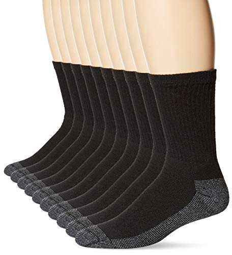 Fruit of the Loom Men's 10 Pack Everyday Work Crew Socks, Black , Shoe Size: 6-12 (Sock Size: 10-13) (Best Black Ass Tube)