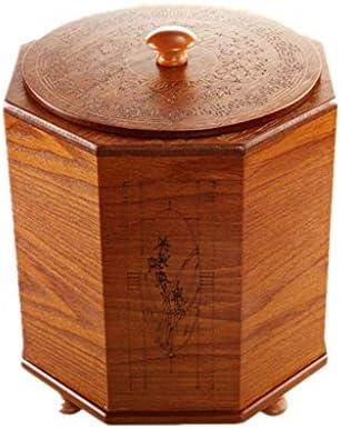 ゴミ袋 ゴミ箱用アクセサリ ふたのゴミが付いている創造的な中国の木のゴミ箱5L / 8L大容量の家の居間ホテルの寝室 キッチンゴミ箱 (サイズ : M)