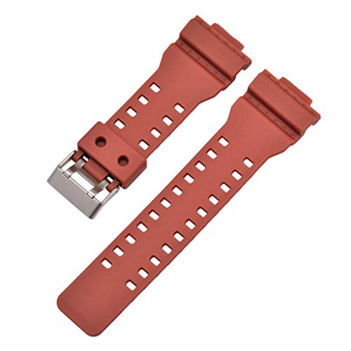 Sodoop Watch Bands +Cover Case Compatible for Casio G Shock 16mm GA-100 G-8900 GW-8900, New PVC Replacement Watches Band Strap with Stainless Steel Buckle for Casio G Shock