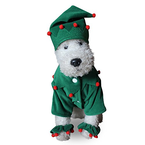WORDERFUL Dog Green Elf Costume with Hat Santa Christmas Xmas Pet Costume Outfit Leg Cuff Set (S (Back 10.2