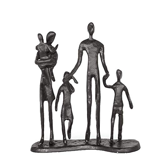 DreamsEden Rustic Family Figurines, Cast Iron Art Home Decoration Statue with Gift Card for Anniversary Birthday (Family of Five)