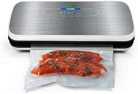 Vacuum Sealer By NutriChef | Automatic Vacuum Air Sealing System For Food Preservation w/ Starter Kit | Compact Design | Lab Tested | Dry & Moist Food Modes | Led Indicator Lights (Silver)