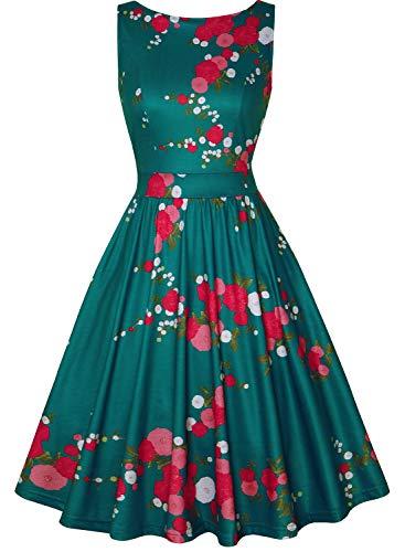 MISSJOY Women's Boat-Neck Floral Sleeveless Short Fit Flare Dress (DarkGreen, M)