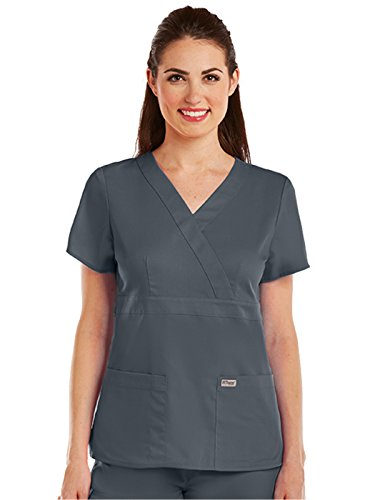 Grey's Anatomy 4153 Women's Mock Wrap Top Granite S